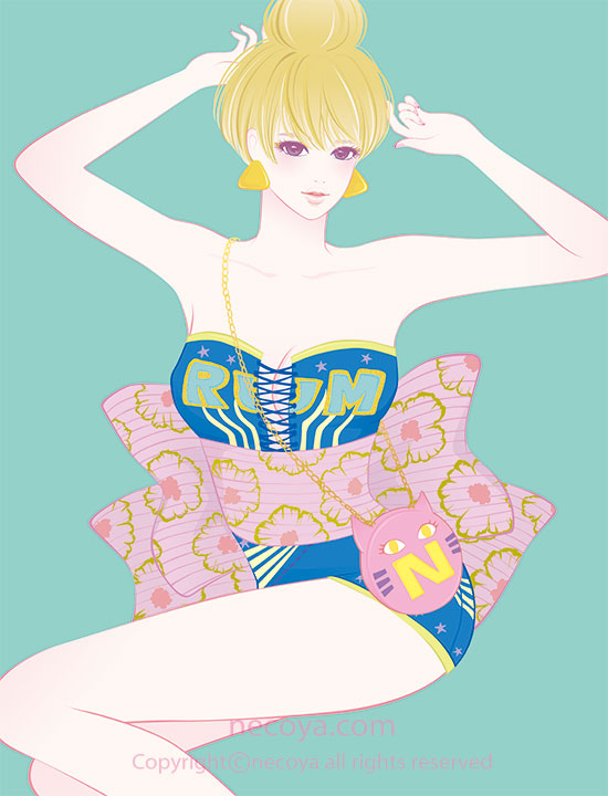 女性イラスト original:「ラム Rum」age 26  Blood short hair. It's a hobby to sleep!