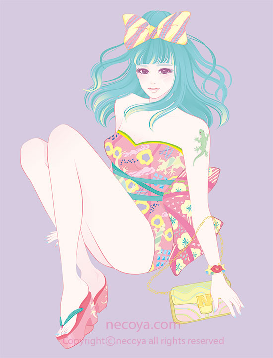 女性イラスト original:「響子 Kyoko」age 27  She loves Gecko and loves  to drink!