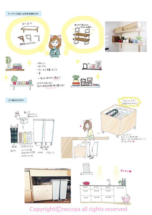 整理収納 イラスト お片づけ DIY 棚 ゴミ箱 見せる収納 キッチン