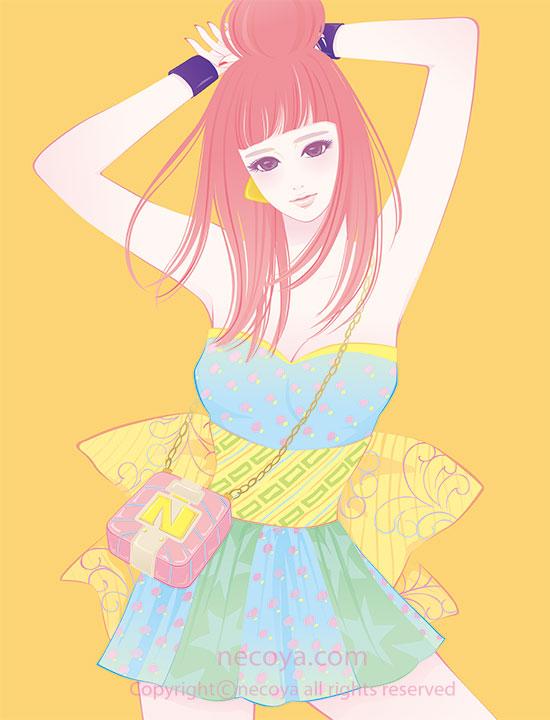 女性イラスト original:「百子 Momoko」age 22  She's fashionista in the new world.