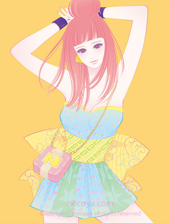 女性イラスト original:「百子 Momoko」age 22  She's fashionista in the new world.