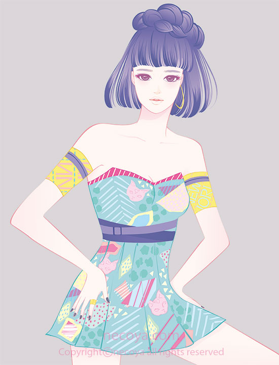 女性イラスト original:「秋明 Shumei」age 27  She loves one son.