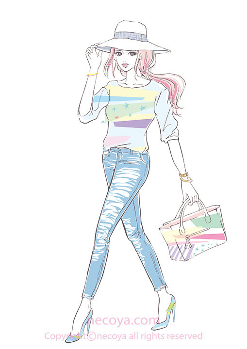 女性イラスト original:「spring fashion」