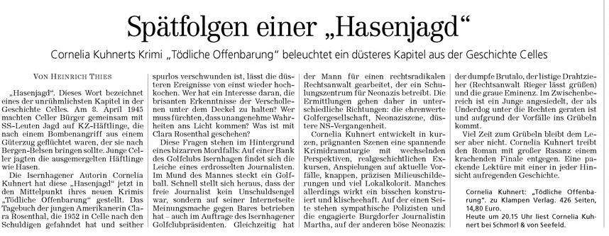 Heinrich Thies, Hannoversche Algemeine Zeitung, 13.11.2011