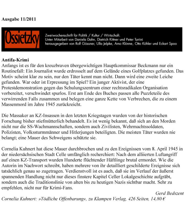 Gerd Bedszent, Ossietzky, Ausgabe 11/2011