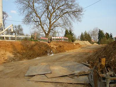 2006: Straße ins Baugebiet Rosselen. Ein einziger Baum blieb stehen. Foto: C.Reimers