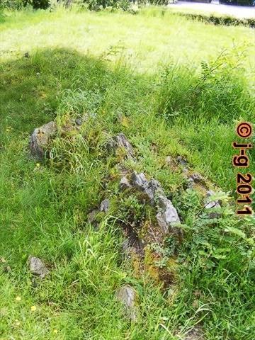 Naturdenkmal: Biotitschiefer ist durchdrungen von hellem rötlichen Granit