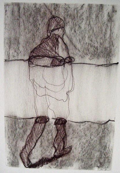 grafiet, conté, papier, grootte (b x h): 50 cm x 60 cm, aluminium wissellijst, oplage:1, prijs: € 250