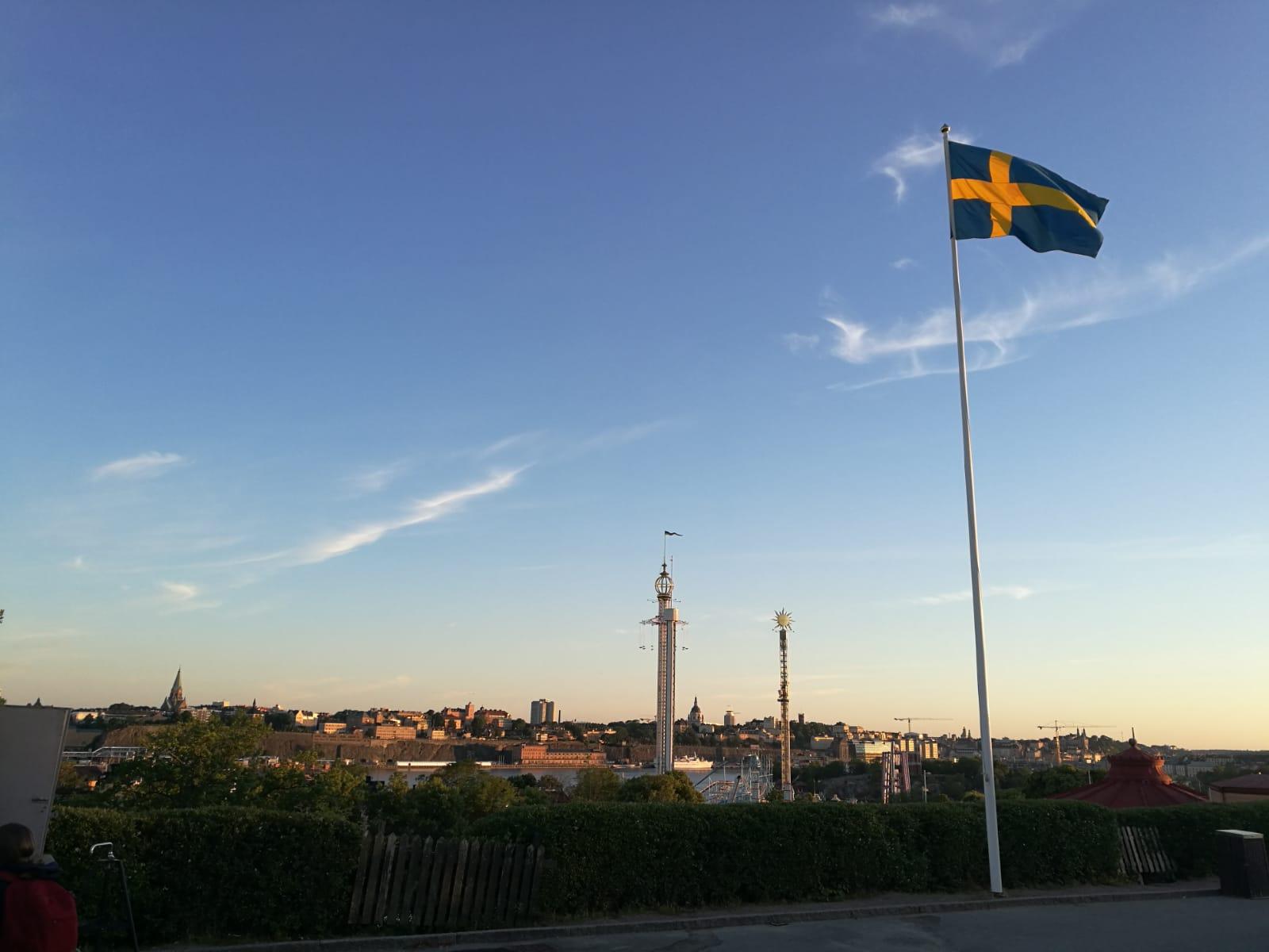 Sonnenuntergang über Stockholm bei Allsång på Skansen