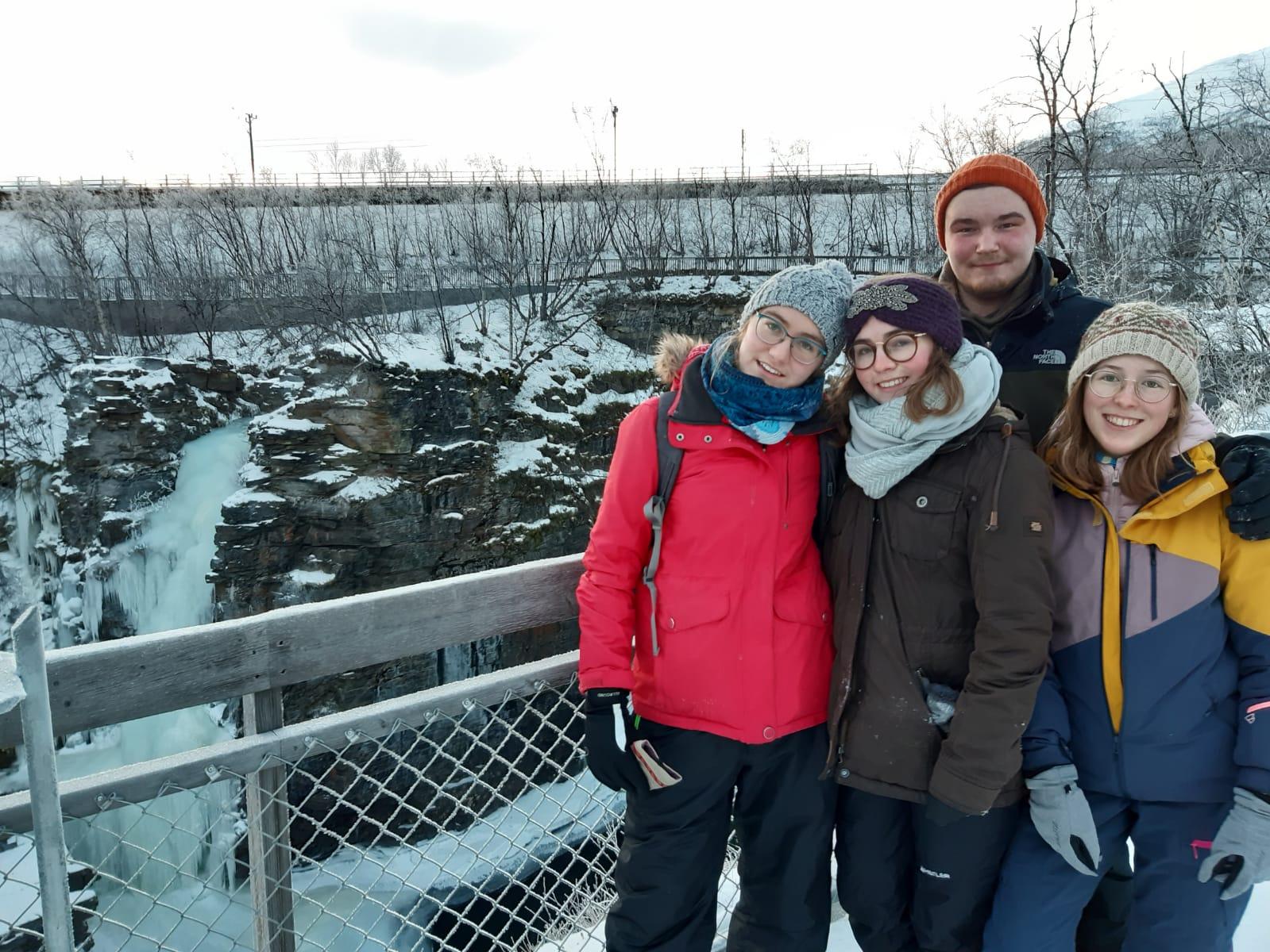 Sonja, Clarita, Konrad und Hannah in Kiruna