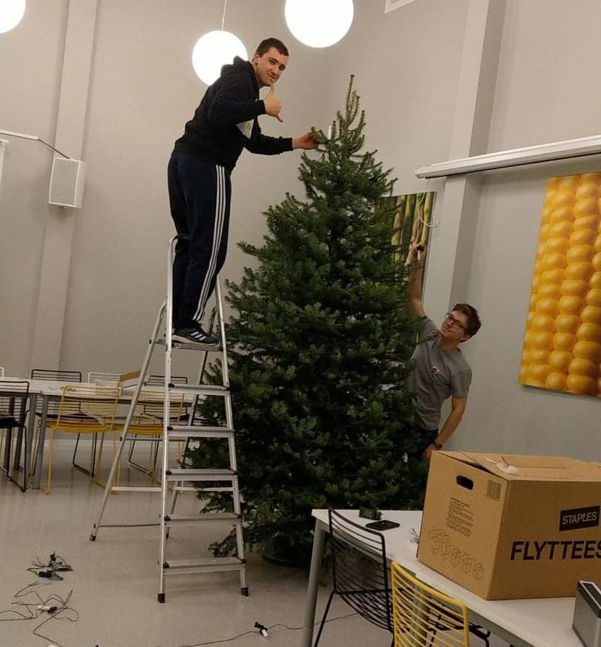 Adventliches in der Schule: Fünf Weihnachtsbäume aufstellen und schmücken ist schon nicht ohne