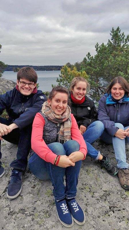 Marcel, Raphaela, Ricarda und Magdalena auf der Insel Ekerö am Mälaren-See.