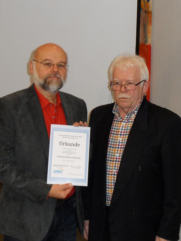 Ehrung für 25 Jahre Mitgliedschaft: Hartmut Weissenbacher