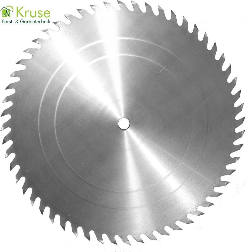 Chromstahl Kreissägeblatt, KV-Wolfszahnausführung für einfache, grobe Holzschnitte, leicht nachzuschärfen, geeignet für Tisch-, Bau- und Brennholzkreissägen.