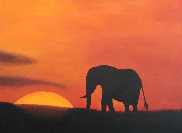 SUNSET ELEPHANT 94 x 74 cm, Acryl, CHF 920.--