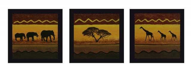 SUNSET TRIO je 50 x 50 cm, Acryl & Strukturpaste (verkauft)