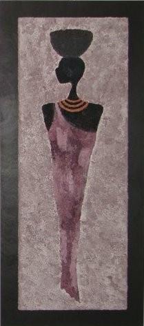 GIRL KIANGA, 40 x 90 cm, Acryl & Sand gespachtelt (verkauft)