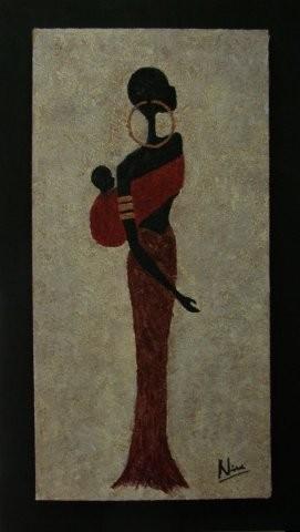 GIRL HASINA 54 x 94 cm, Acryl & Sand gespachtelt, CHF 650.--
