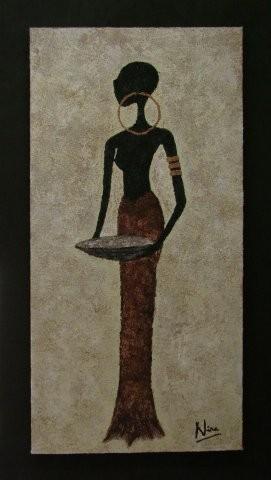 GIRL ALAINA 54 x 94 cm, Acryl & Sand gespachtelt (verkauft)