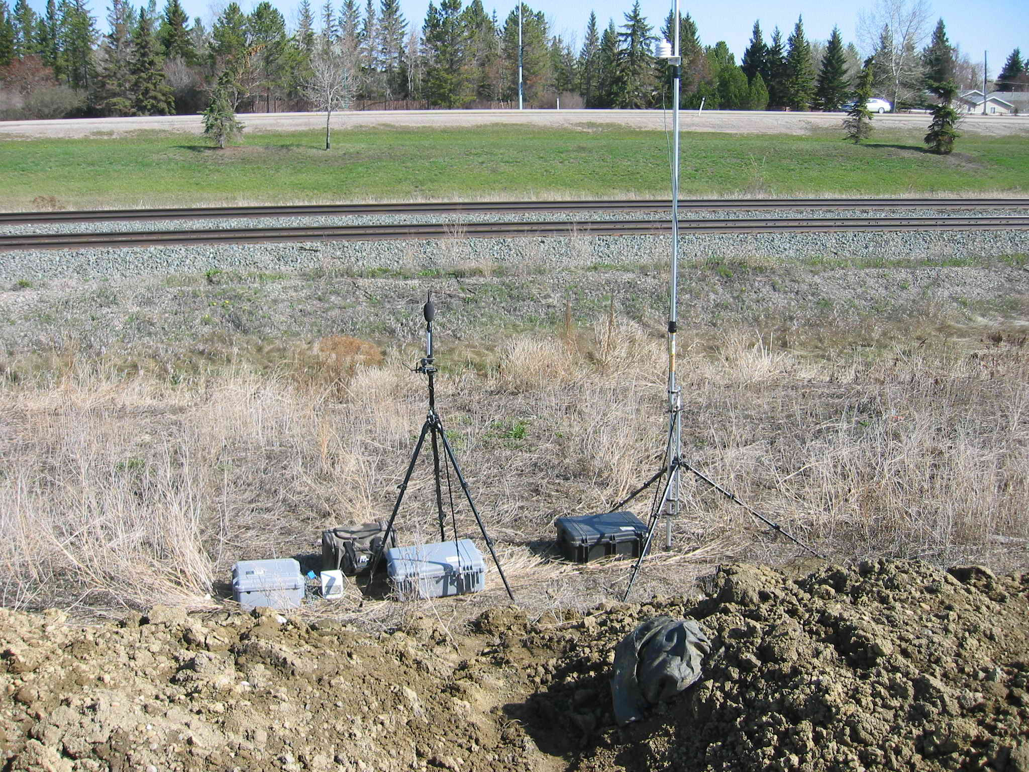 Noise, Vibration, and Weather Monitors Adjacent to Freight Train Track