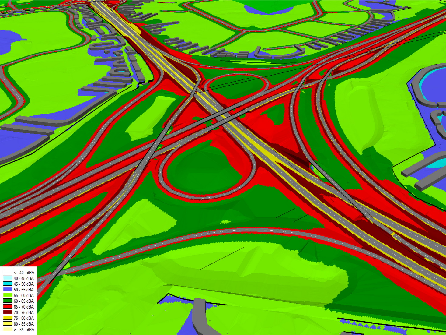 Noise Model of Large Roadway Interchange