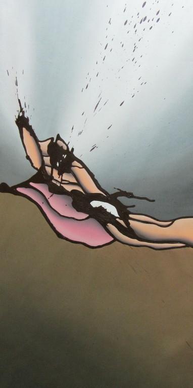 6. Schritt: Acrylformen mit Pinsel deckend malen, da diese durch die Flächenbearbeitung verschmiert wurden. Abschlussarbeiten:  Das Bild muss noch auf Keilrahmen gespannt werden. Anschliessend Signatur anbringen, firnen und die Aufhängung montieren.