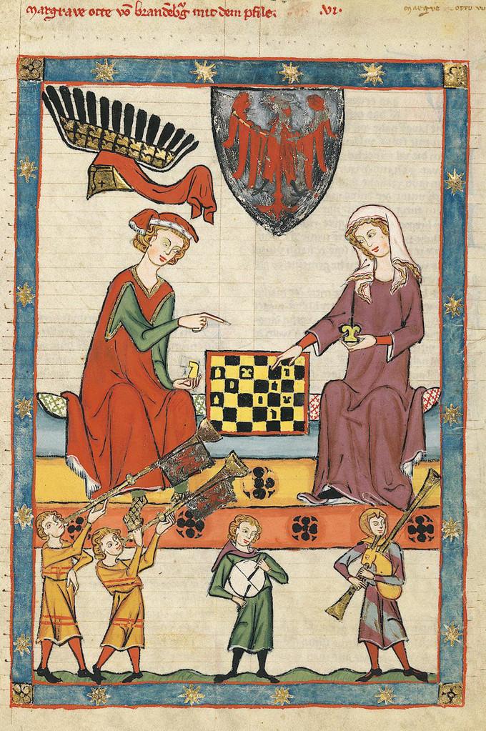 Le Roi Otto IV de Brandenburg jouant aux échecs avec une femme  1305