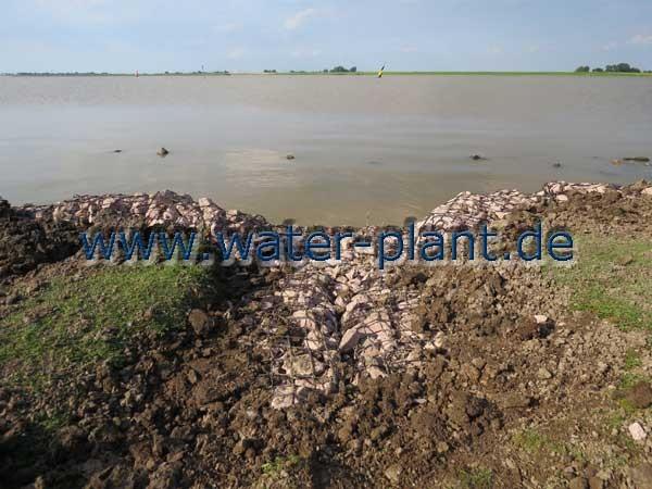 Die Ablaufrinnen des Deichvorlandes wurden in die Ufersicherung eingebunden