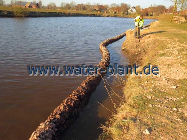 Die neue Uferlinie aus Steinwalzen ist fertig