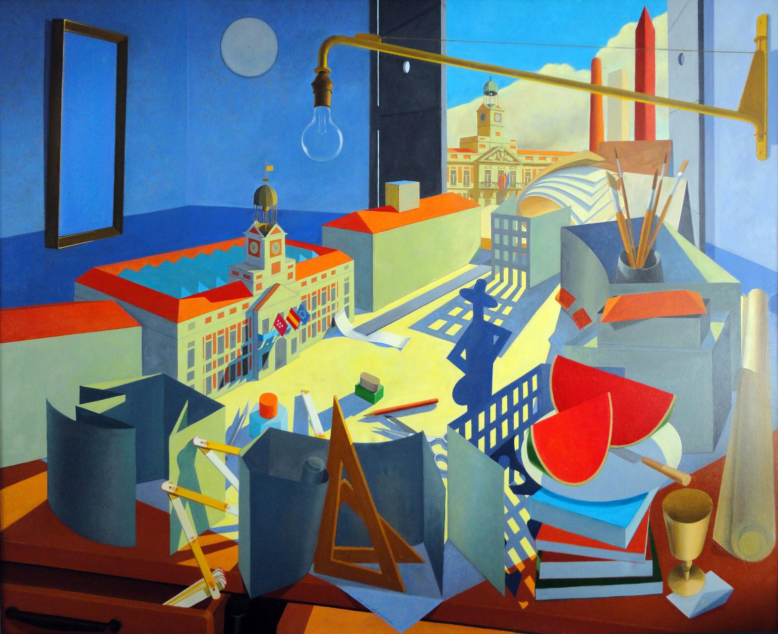 Capricho arquitectónico con maqueta de la Puerta del Sol. Óleo sobre lienzo, 130 x 146 cm.