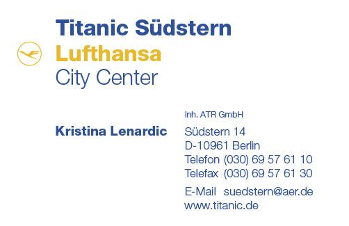 Visitenkarte Lufthansa City Center Titanic Reisen