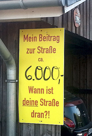 Anti-Strabs Plakat mit Betrag