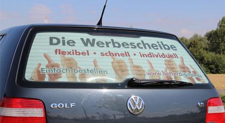 Werbescheibe fuer Ihr Fahrzeug mit Ihrem individuellen Motiv im Digitaldruck gedruckt