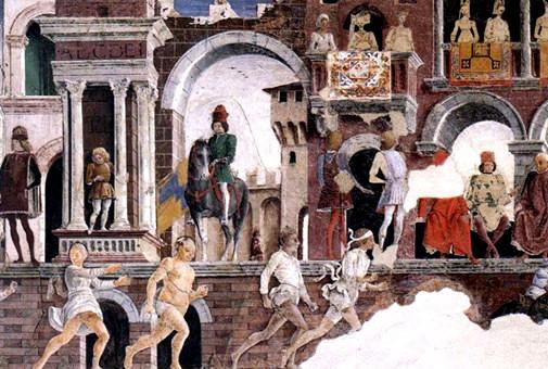 La Alegoría de Abril de francesco de la Cossa del Palazzo Schifanoia (Ferrara)