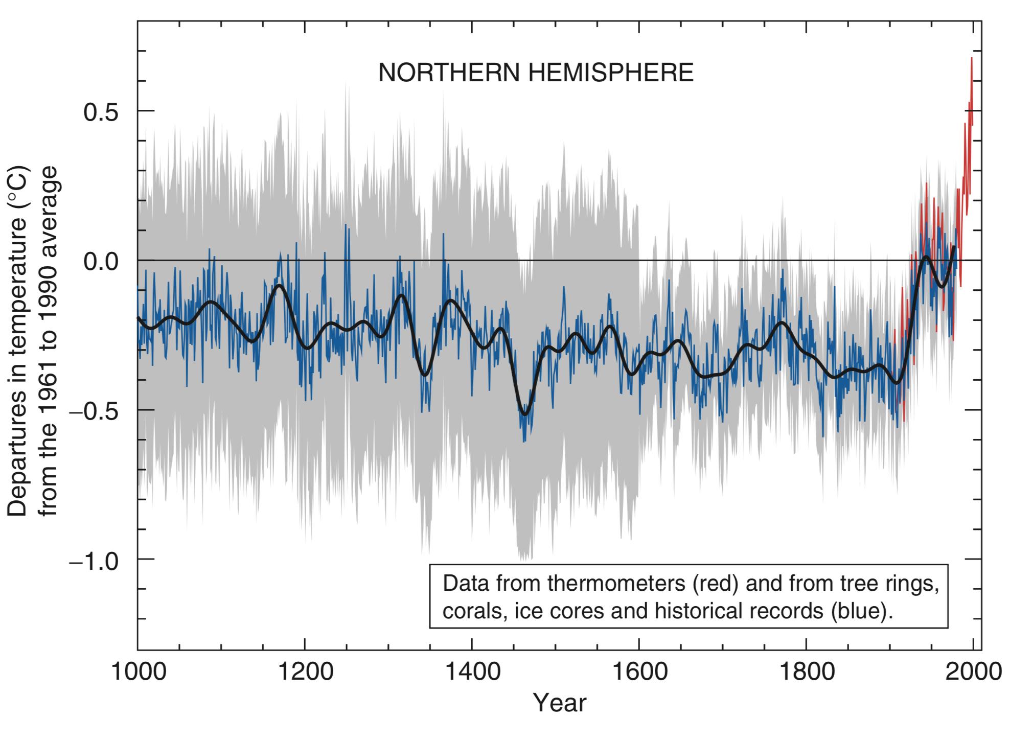 Klimaentwicklung gemäss IPCC TAR 2001 (Michael Mann)