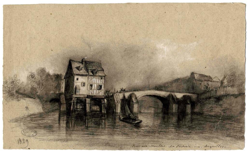 François Julien Decourbe - Pont aux moulins. La pêcherie aux anguilles - inv 970.7.207