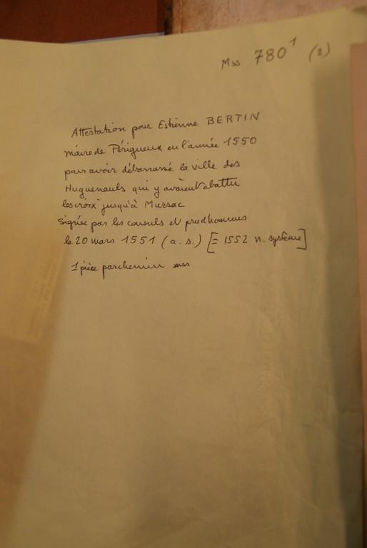 Transcription de l'attestation précédente