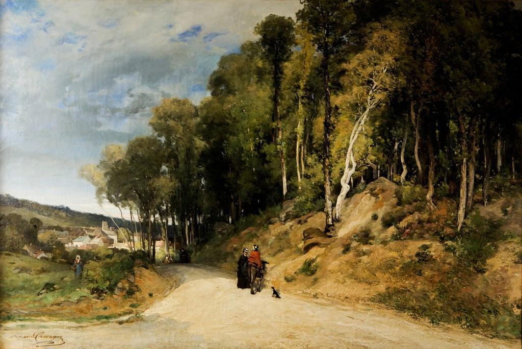 Armand Cassagne - Promenade en forêt. Avon . Huile - inv 460 - Restauré.