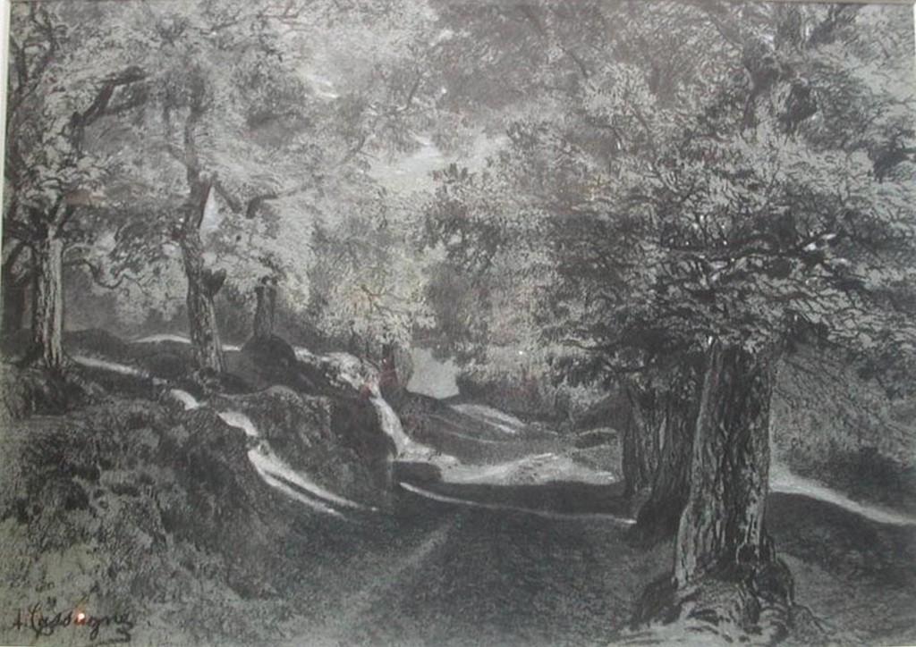 Armand Cassagne inv 741. La Chataigneraie  - Route descendant dessin