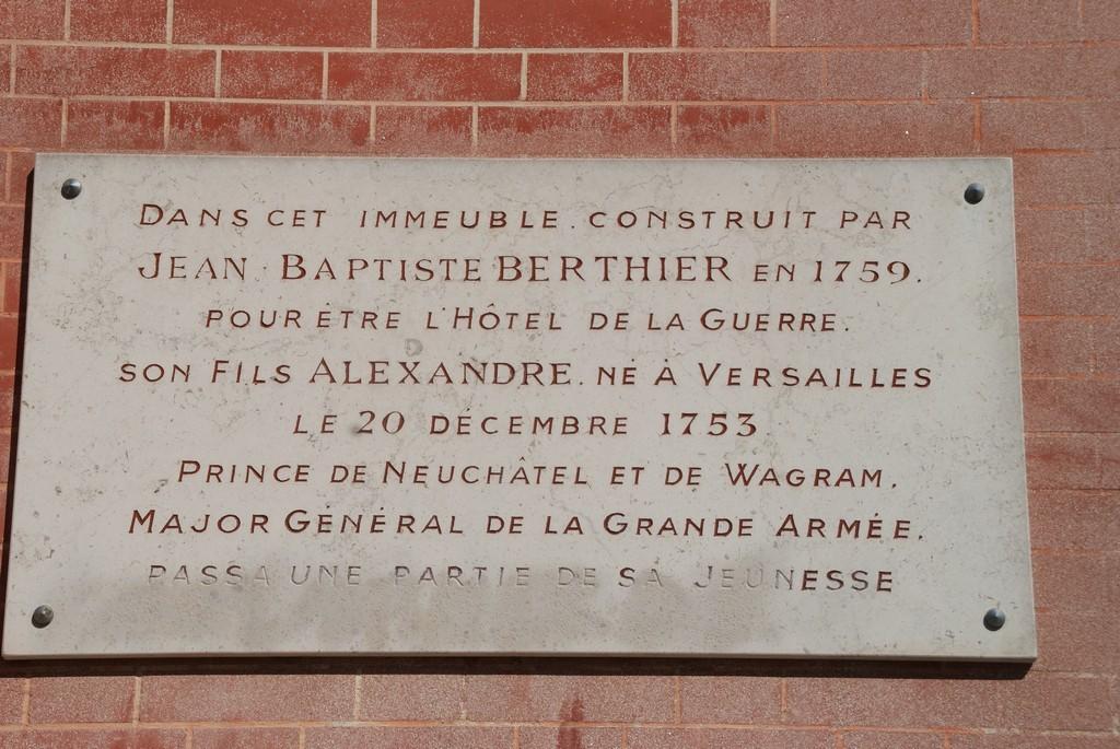 Architecte : Père du Maréchal d'Empire BERTHIER