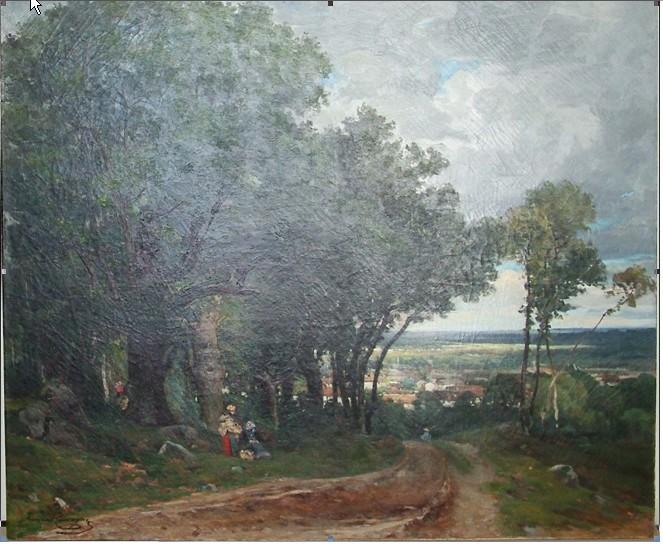 Armand-Cassagne - Route sableuse du Mont Pierreux. huile inv 444 -  Restauré