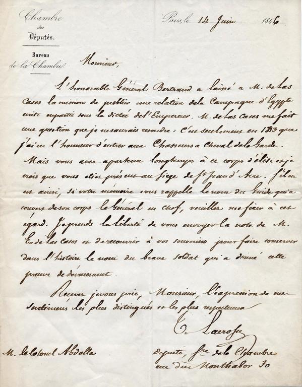 Inventaire 2002.7.7 - Lettre sur la bataille de St Jean d'Acre a Abdallah d'Asbonne , demande de renseignements