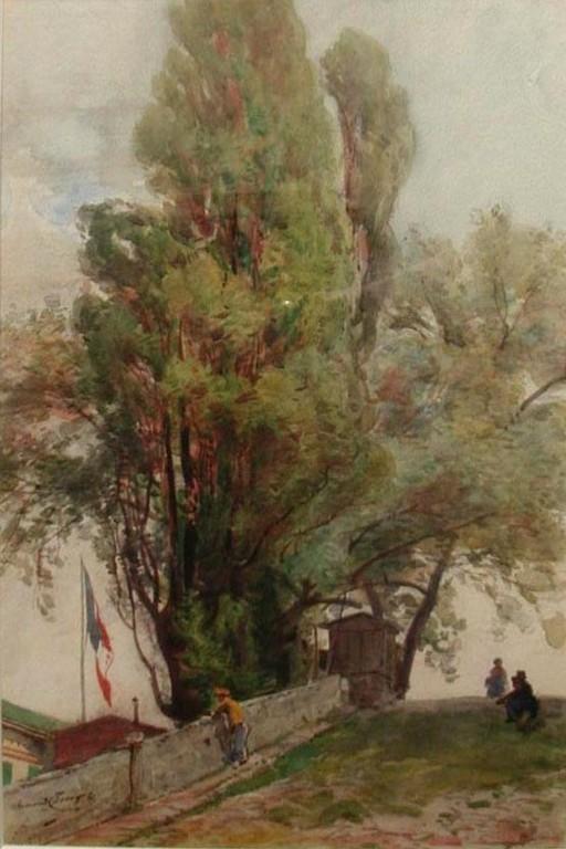 Armand Cassagne inv 332. Les Peupliers. Vue du côté du Pont de Solférino