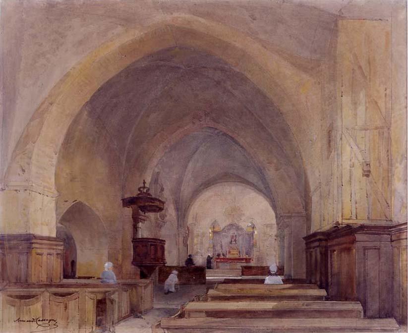 Armand Cassagne Intérieur de l'église d'Avon inv 329
