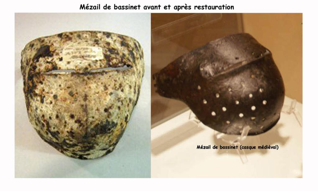 Mézail de bassinet avant et après restauration (Exposition - Le Moyen-  Age à Melun)