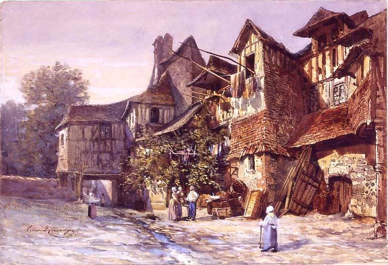 Armand Cassagne inv 339. Intérieur de cour à Lisieux (Calvados)