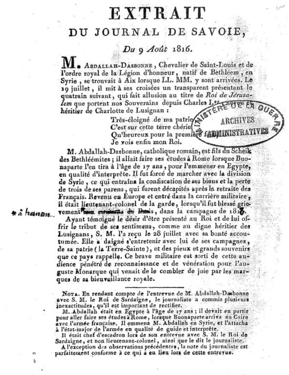 Extrait Journal de savoie 9 août 1816