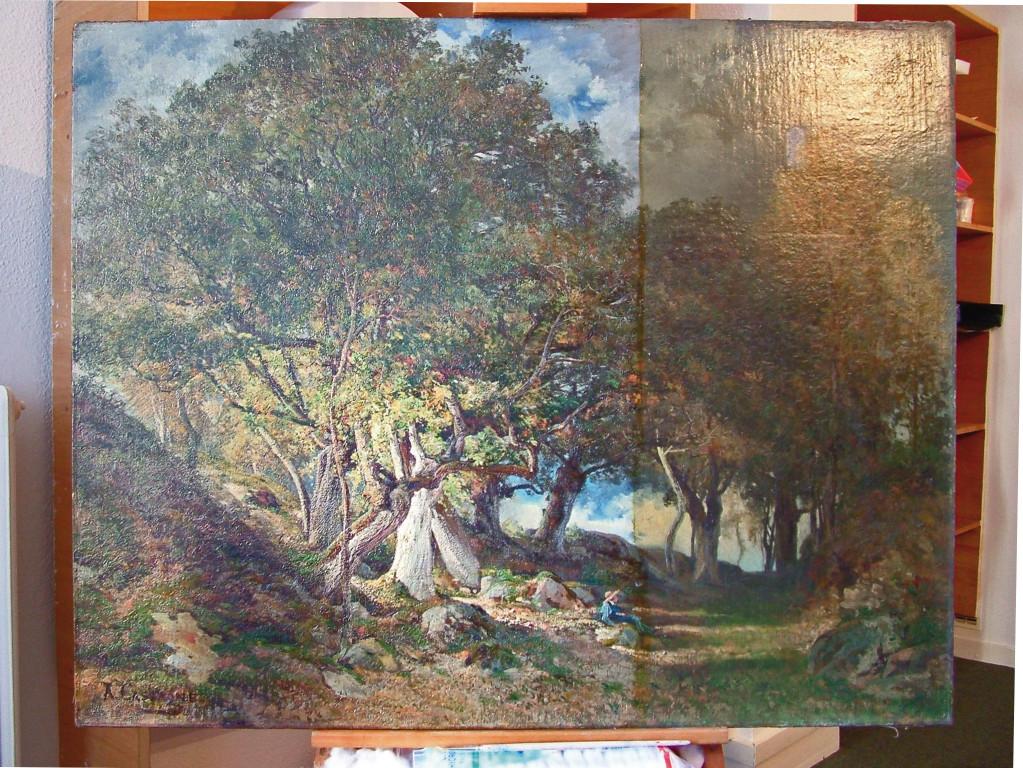 Armand Cassagne - La Chaise Marie. Forêt de Fontainebleau.  huile -  inv 446 - Restauration en cours