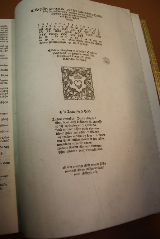 Traduction de la Bible en Français par Pierre Robert Olivetan   - Imprimée en 1535 par Pierre de Vingle -  Neufchatel