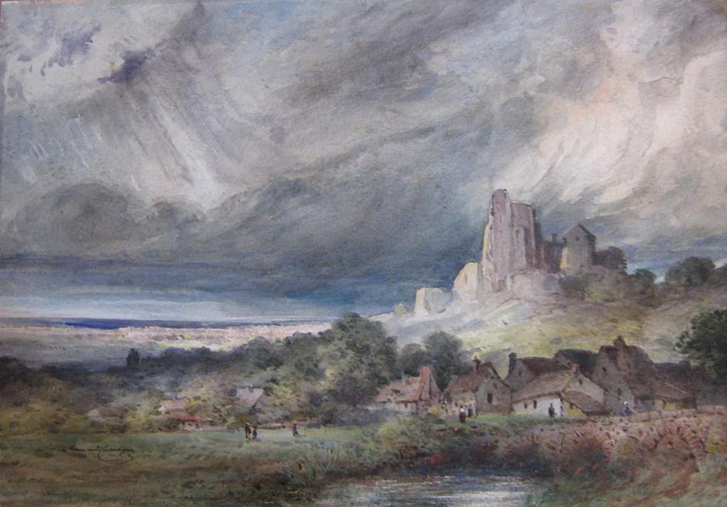 Armand Cassagne inv  341 Aquarelle - Ruines du château de Lavandin. Temps d'orage